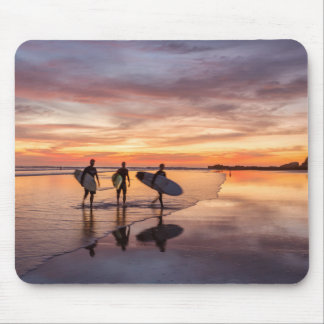 Surfers At Sunset Walking On Beach, Costa Rica Mouse Pad