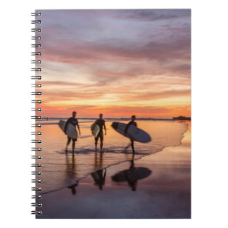 Surfers At Sunset Walking On Beach, Costa Rica Notebook