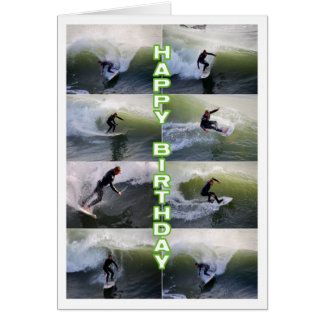 Surfers Collage Happy Birthday Greeting Card