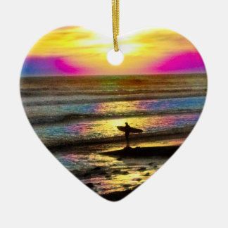Surfer's Dream Series #2 Double-Sided Heart Ceramic Christmas Ornament
