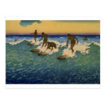 Surfers, Honolulu Hawaii riding the waves Postcard
