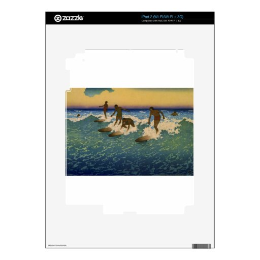Surfers, Honolulu Hawaii riding the waves Decals For iPad 2