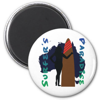 surfer's paradise 2 inch round magnet