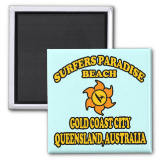 Surfers Paradise Beach 2 Inch Square Magnet