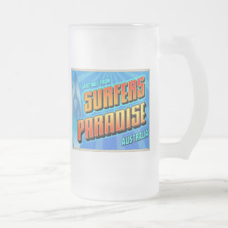 SURFERS PARADISE FROSTED GLASS BEER MUG