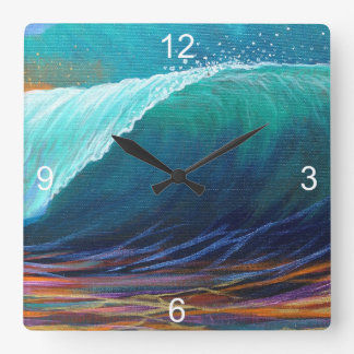 Surfers View of the Barrel Square Wall Clock