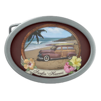 Surfin' Hawaii Oval Belt Buckle