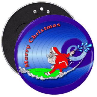 Surfin Santa Wishing You a Merry Christmas Button