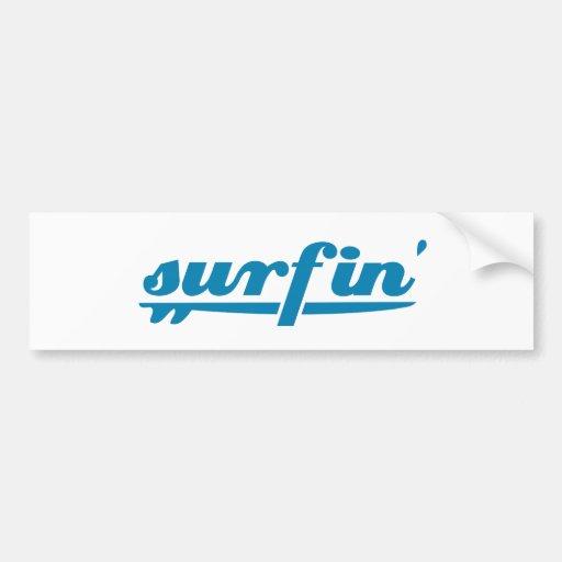 Surfin surfboard blue car bumper sticker