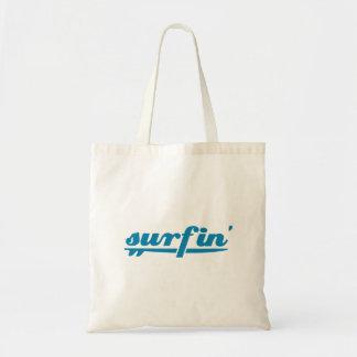 Surfin surfboard blue tote bag