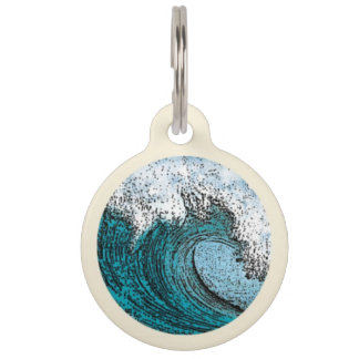 Surfin' Wave Pet ID Tag