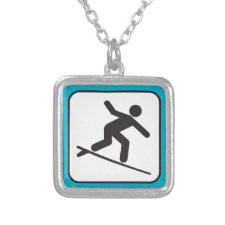 surfing-303470 surfing surf surfer surfboard sign silver plated necklace