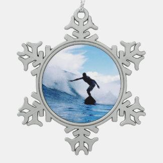 surfing-71.jpg snowflake pewter christmas ornament
