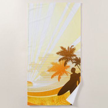 Beach Themed Surfing 7 Beach Towel
