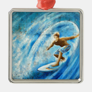 Surfing a blue wave surf mural square metal christmas ornament