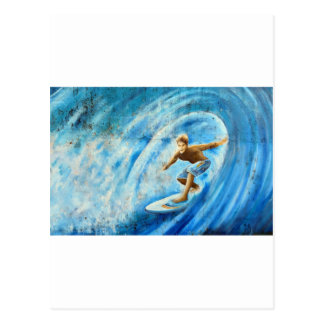 Surfing a blue wave surf mural postcard