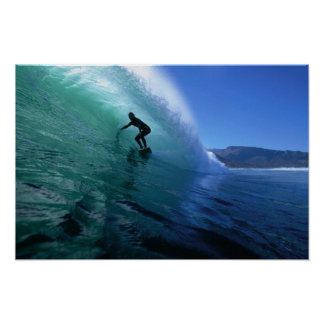 Surfing a green tube wave poster