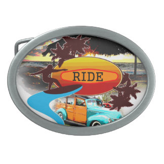 Surfing and Woody Art Belt Buckle