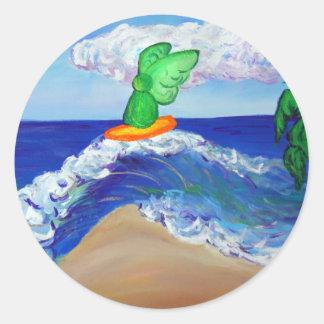 Surfing Angel Raphael Art Custom Stickers Round Sticker