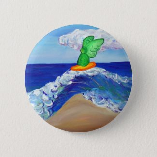 Surfing Angel Raphael Button
