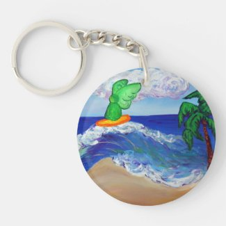 Surfing Angel Raphael Guardian Custom Keychain