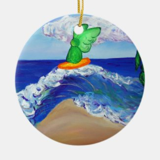 Surfing Angel Raphael Riding Healing Wave Ornament