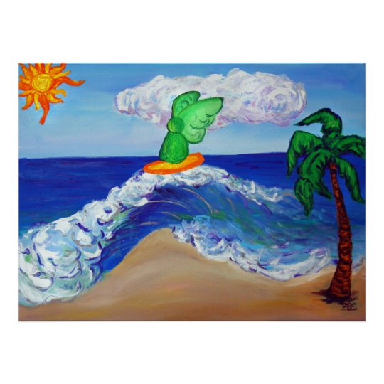 Surfing Angel Raphael Riding Healing Waves Poster