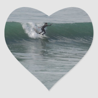 Surfing At Moonstone Beach in Cambria, CA Heart Sticker