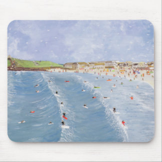Surfing at Porthmeor Mouse Pad