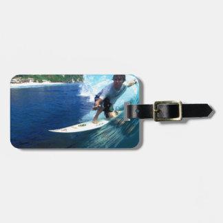 Surfing Bali blue barrel wave Luggage Tags