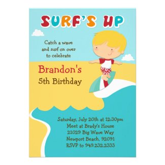 Surfing Beach Birthday Party Invitation