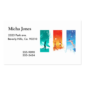Surfing, Beach Volleyball, Swimming For Summer Fun Business Card
