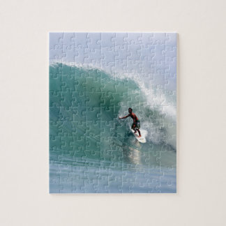 Surfing big blue tropical island wave Sumatra Jigsaw Puzzle