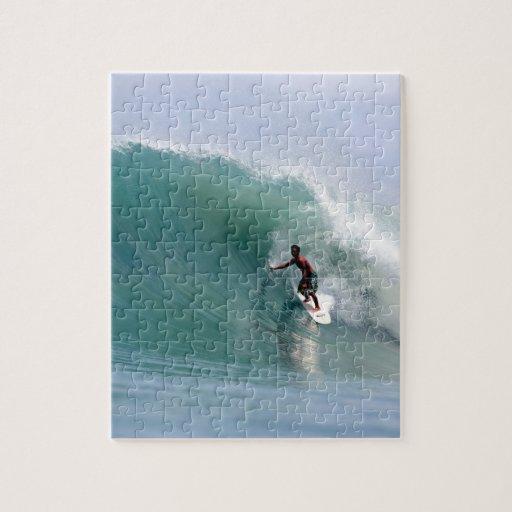 Surfing big blue tropical island wave Sumatra Puzzles