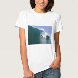 Surfing big blue tropical reef wave t shirt