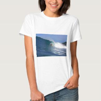 Surfing big waves on tropical island paradise tee shirt