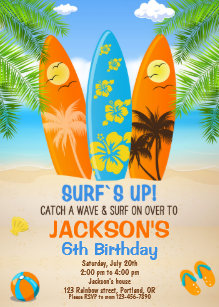Surfing Birthday Invitations