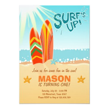 Beach Themed Surfing Birthday Invitation Surf's Up Beach party
