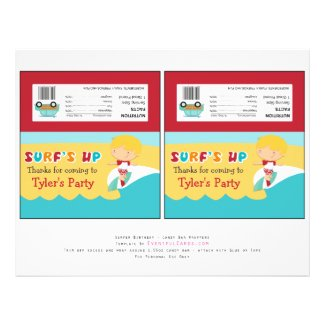 Surfing Birthday Party Candy Bar Wrappers