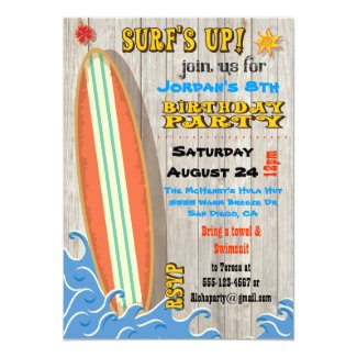 Surfing Birthday Party Invitations