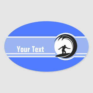 Surfing; Blue Oval Sticker