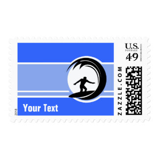 Surfing; Blue Postage Stamps