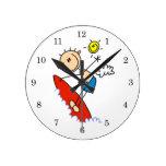 Surfing Boy Stick Figure Round Clock