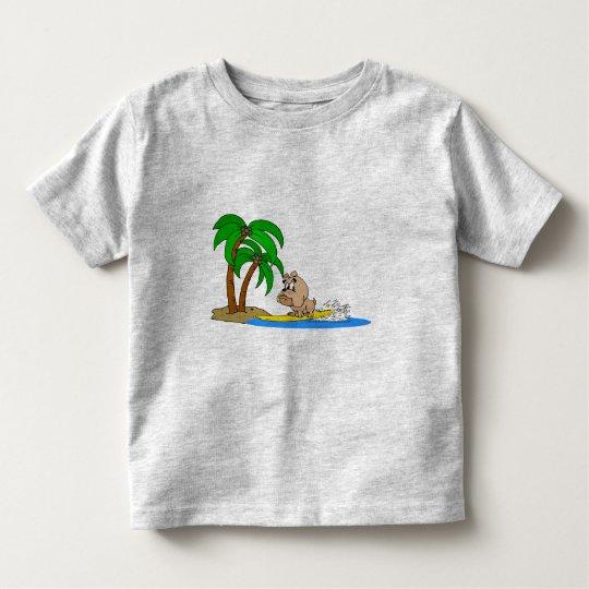 surfing bulldog toddler t-shirt