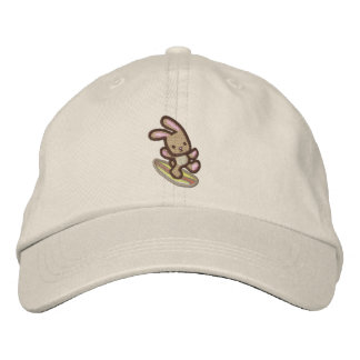 Surfing Bunny Embroidered Baseball Cap
