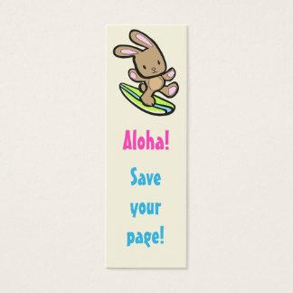 Surfing Bunny Skinny Bookmark Mini Business Card