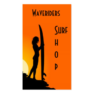 Surfing business card beach, surfboard, surfer