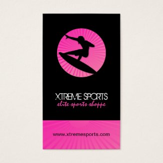 Black and Pink Surfer Business Cards