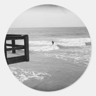 Surfing By The Pier 2 Classic Round Sticker