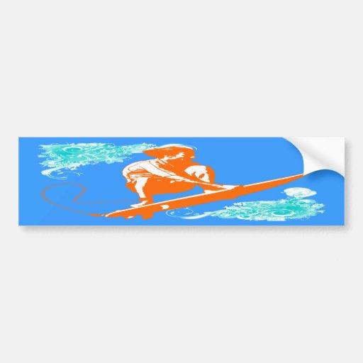 Surfing Car Bumper Sticker